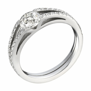 Platinum Split Pave' Shank Brilliant Cut Diamond Engagement Ring