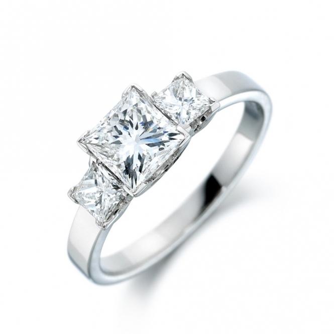 Platinum Square Diamond Three Stone Ring