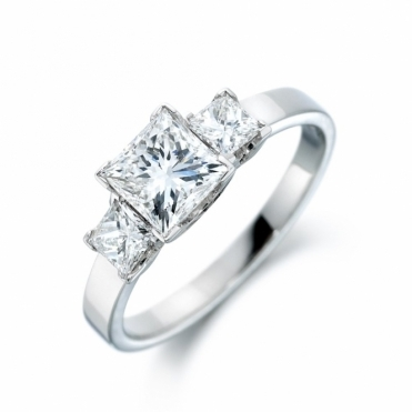 Platinum Square Diamond Three Stone Ring