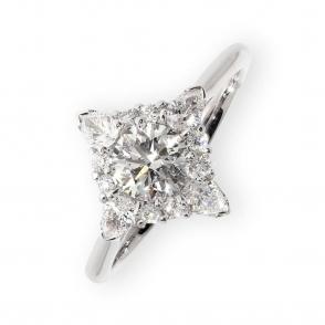 Platinum square halo diamond engagement ring