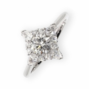 Platinum square halo diamond engagement ring