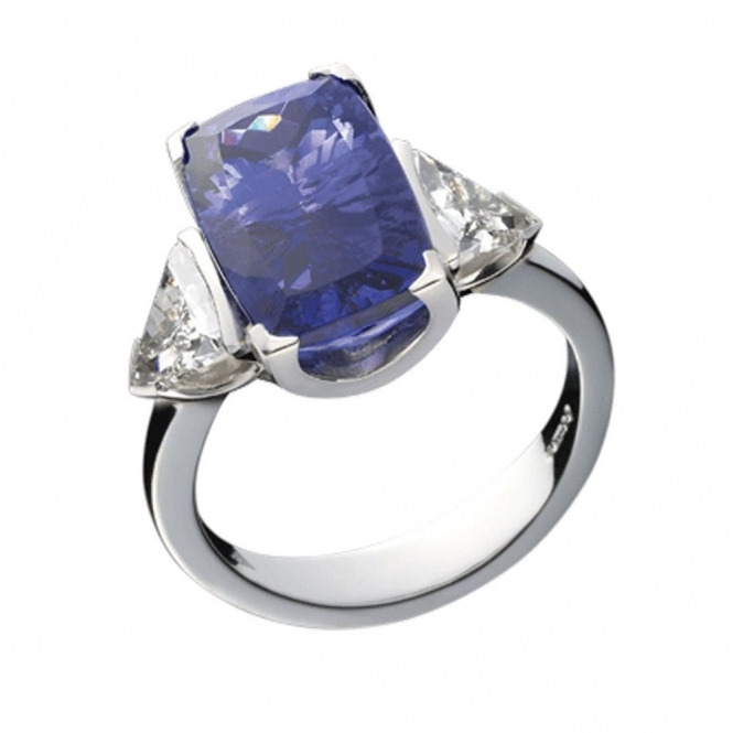 Platinum Tanzanite and Trillion Cut Diamond Shoulder Ring. Design no. 1S40