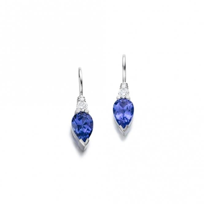 Platinum Tanzanite & Diamond Earrings. Design No. 1U47A