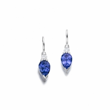 Platinum Tanzanite & Diamond Earrings. Design No. 1U47A