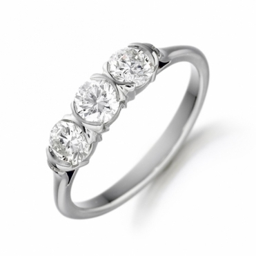 Platinum Three Stone Brilliant Cut Diamond Engagement Ring