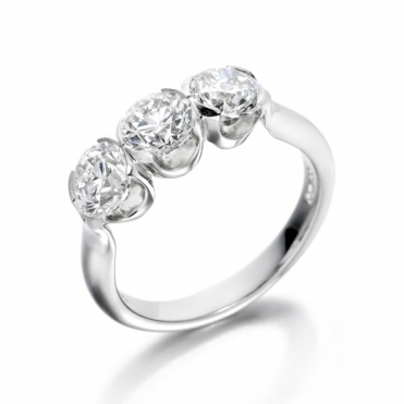 Platinum Three Stone Cradle Set Diamond Ring