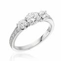 Platinum Three Stone Diamond Ring with Pave Diamond Shoulders
