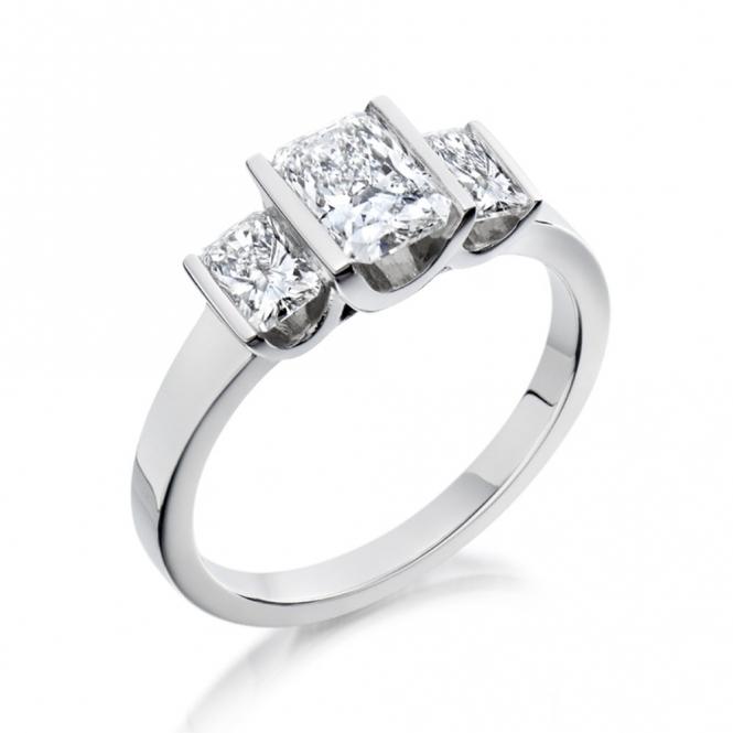 Platinum Three Stone Radiant Cut Diamond Engagement Ring