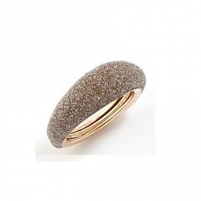 Polvere di Sogni Pink Sterling Silver Beige Dust Anello Domed Ring