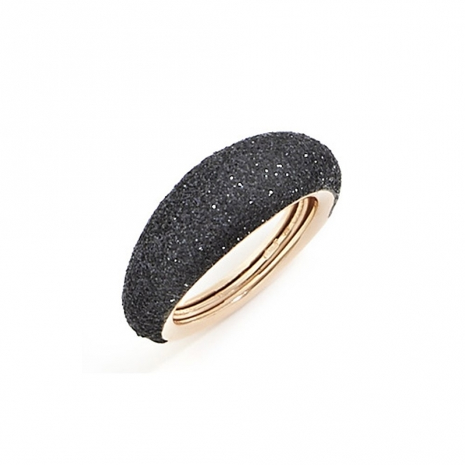 Polvere di Sogni Pink Sterling Silver Black Dust Anello Domed Ring