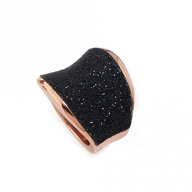Polvere di Sogni Pink Sterling Silver & Black Dust Saddle Ring