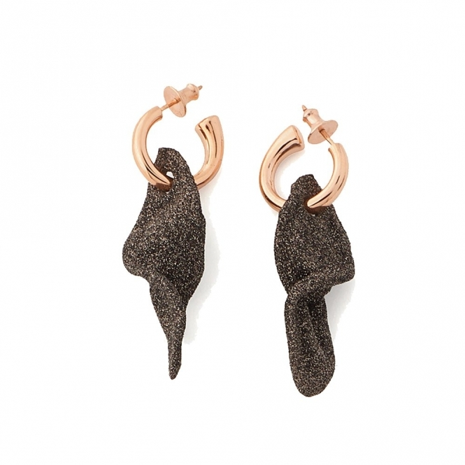Polvere di Sogni Pink Sterling Silver & Bronze Dust Orecchini Leaf Earrings