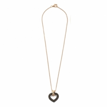 Polvere di Sogni Pink Sterling Silver & Brown Dust Heart Necklace