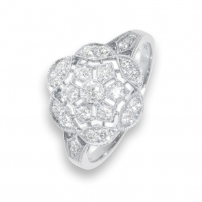 Pre owned diamond floral deco ring