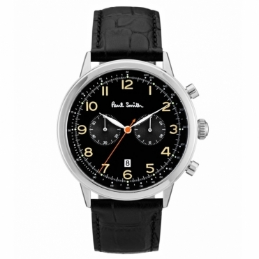 Precision Chronograph Stainless Steel Watch with Black Dial Leather Strap