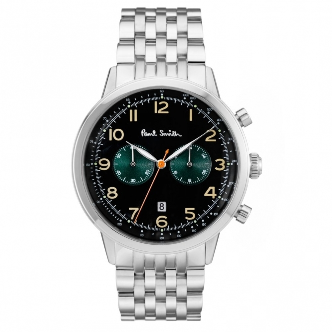 Precision Chronograph Stainless Steel Watch with Black & Green Dial