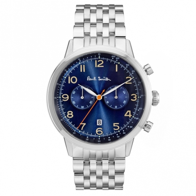 Precision Chronograph Stainless Steel Watch with Navy Blue Dial