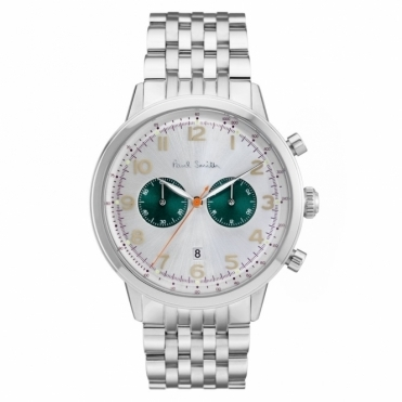 Precision Chronograph Stainless Steel Watch with Silver & Green Dial