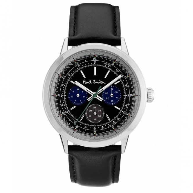 Precision Day-Date Stainless Steel Quartz Watch with Black Dial