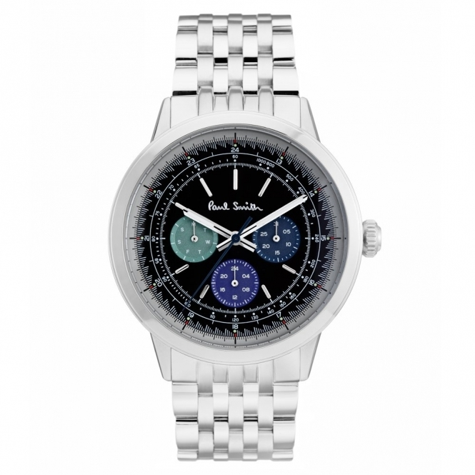 Precision Stainless Steel Watch with Black Dial & Coloured Sub-Dials