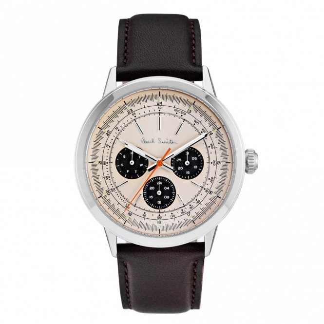 Precision Watch with Beige Dial & Brown Leather Strap