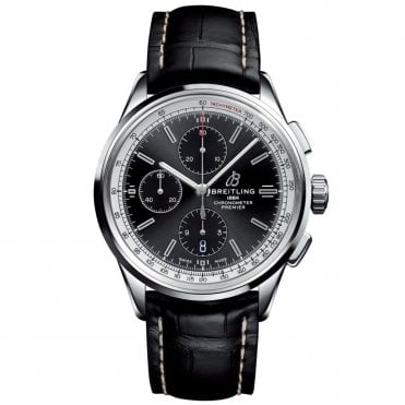 Premier Chronograph 42mm Automatic Watch with Black/Silver Dial