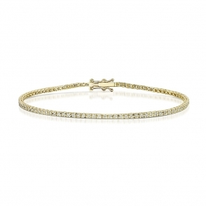 18 Yellow Gold Diamond Line Bracelet