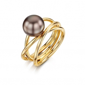 18ct Rose Gold Black South Sea Tahitian Pearl Ring