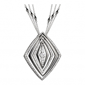18ct White Gold and Brilliant Cut Diamond Pendant. Design no. 1W83A