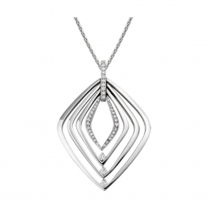 18ct White Gold and Brilliant Cut Diamond Pendant. Design no. 1W84A