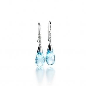 18ct White Gold Blue Topaz & Diamond Set Earrings. Design No. 1U43A