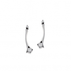 18ct White Gold Brilliant Cut Diamond Earrings. Design No. 1U66A