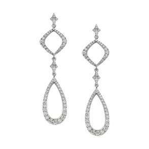18ct White Gold brilliant Cut Diamond Earrings . Design no. 1W80A