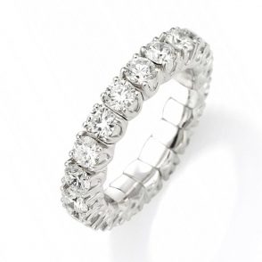 18ct White Gold Claw Set Diamond Expandable Eternity Ring