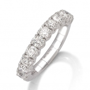 18ct White Gold Claw Set Diamond Expandable Half Eternity Ring