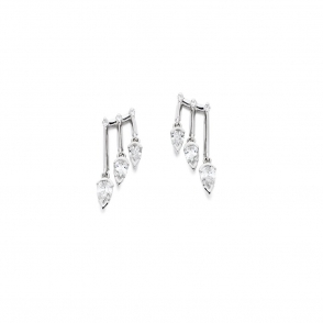 18ct White Gold Diamond Earrings. Design No. 1V21A