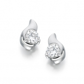 18ct White Gold Diamond Set Earrings. Design No. 1S314W