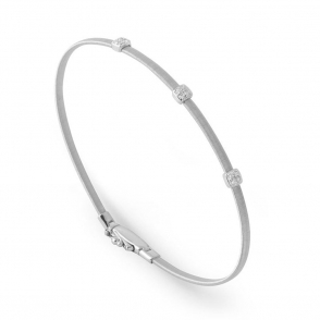 18ct White Gold Masai Diamond Bangle