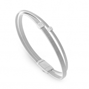 18ct White Gold Masai Two Strand Diamond Set Bangle