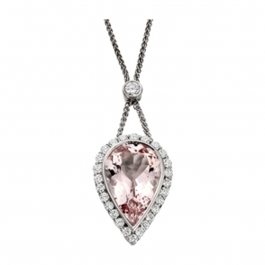 18ct White Gold Morganite and Brilliant Cut Diamond Pendant. Design no. 1W93A