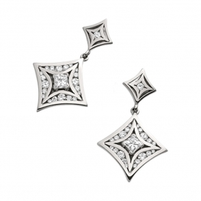 18ct White Gold Princess and Brilliant Cut Diamond Drop Earrings. Design no. 1W14A