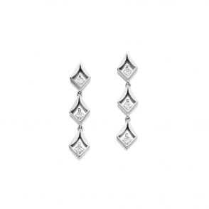 18ct White Gold Princess Cut Diamond Set Earrings. Design No. 1V15A