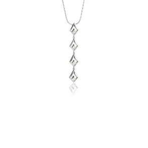 18ct White Gold Princess Cut Diamond Set Pendant. Design No. 1V15A