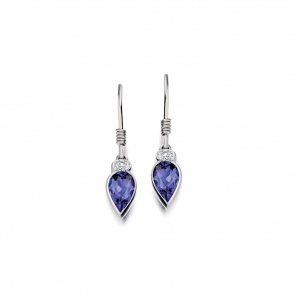 18ct White Gold Tanzanite & Diamond Earrings. Design No. 1U80A