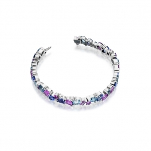 18ct White Gold Tanzanite, Pink Sapphire, Aquamarine & Diamond Bracelet.  Design No. 1U42A