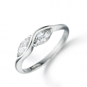 18ct White Gold Two Stone Marquise Ring 1J68A