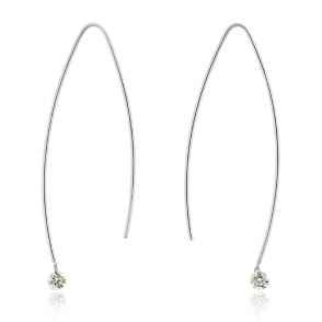 18ct White Gold Wire Drop Diamond Earrings