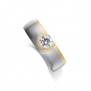 18ct White & Yellow Gold Mens Diamond Engagement Ring