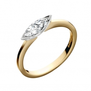 18ct Yellow and White Gold Marquise Cut Diamond Ring