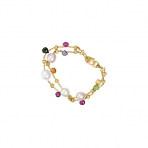 18ct Yellow Gold 2 Strand Mixed Stone & Pearl Paradise Bracelet